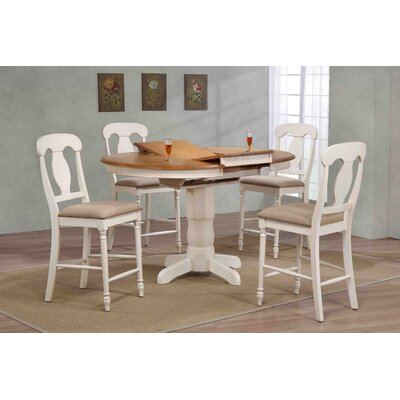 Napoleon Back Counter Height 5 Piece Pub Table Set Finish: Caramel/Biscotti