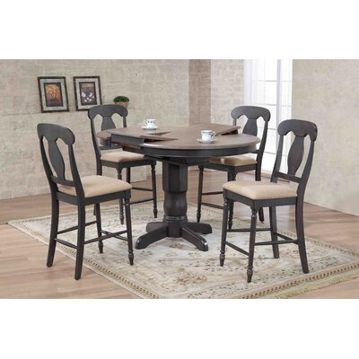Napoleon Back Counter Height 5 Piece Pub Table Set Finish: Gray Stone/Black Stone