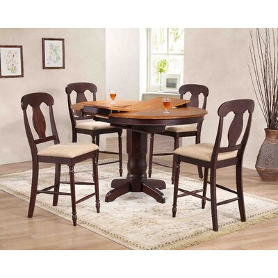 Napoleon Back Counter Height 5 Piece Pub Table Set Color: Whiskey/Mocha