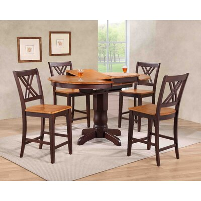 Double X- Back Counter Height 5 Piece Pub Table Set Finish: Whiskey/Mocha