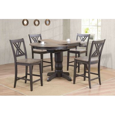 Double X- Back Counter Height 5 Piece Pub Table Set Finish: Gray Stone/Black Stone