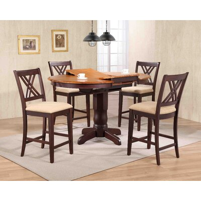 Double X- Back Upholstered Counter Height 5 Piece Pub Table Set Color: Whiskey/Mocha