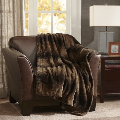 Luxury Faux Fur Throw Blanket Color: Brown