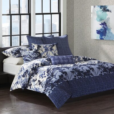 Yumi Botanical 3 Piece Reversible Duvet Cover Set Size: King