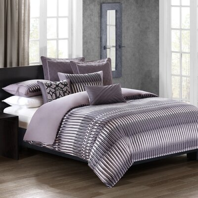 Abstract Stripe 3 Piece Reversible Duvet Cover Set Size: Queen