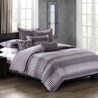 Abstract Stripe 4 Piece Comforter Set Size: Queen