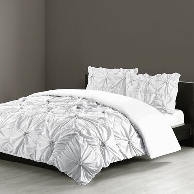Jolee 3 Piece Comforter Set Size: King, Color: White