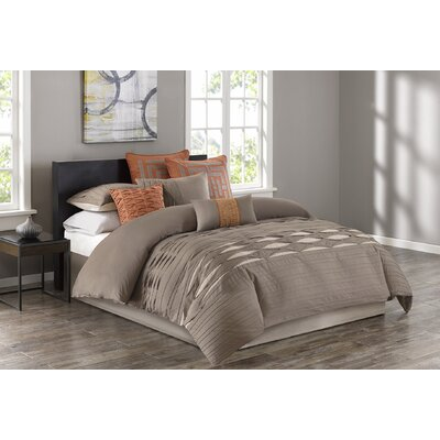 Nara 100% Cotton 4 Piece Comforter Set Size: King, Color: Oatmeal/Orange