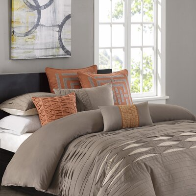 Nara 100% Cotton 3 Piece Duvet Cover Set Size: Queen, Color: Neutral