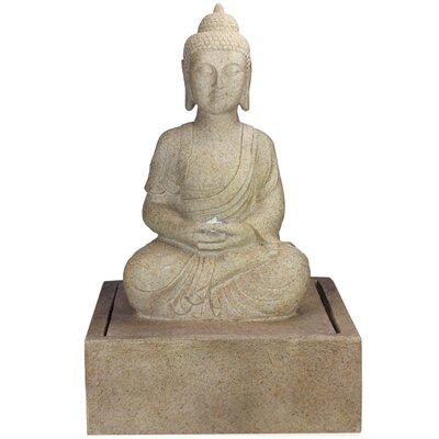 Polystone Praying Buddha Outdoor Water Fountain with Light 32588283