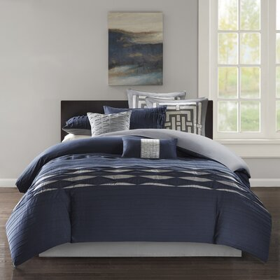 Nara 100% Cotton 4 Piece Comforter Set Size: Queen, Color: Navy/Gray
