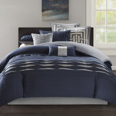 Nara 100% Cotton 4 Piece Comforter Set Size: California King, Color: Navy/Gray