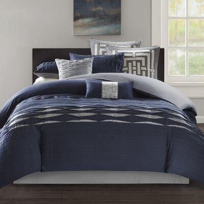 Nara 100% Cotton 4 Piece Comforter Set Size: King, Color: Navy/Gray