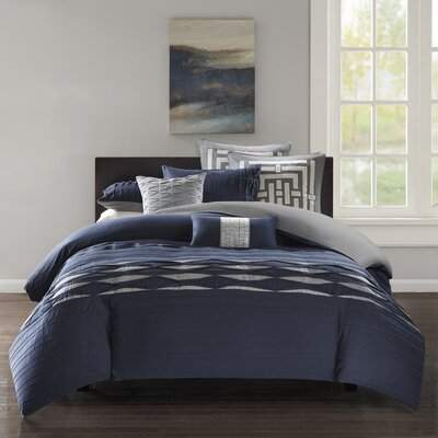 Nara 100% Cotton 3 Piece Duvet Cover Set Size: Queen, Color: Navy