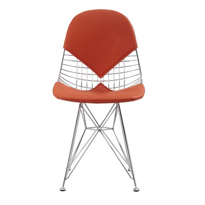 M245 Side Chair Color: Orange, Finish: Chrome