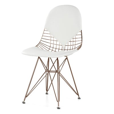 M245 Side Chair Upholstery: White, Finish: Rose Gold