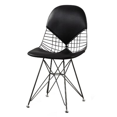 M245 Side Chair Upholstery: Black, Finish: Nickel Plated