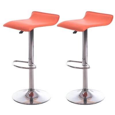 Adjustable Height Bar Stool Upholstery: Orange