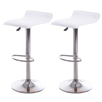 Adjustable Height Bar Stool Upholstery: White
