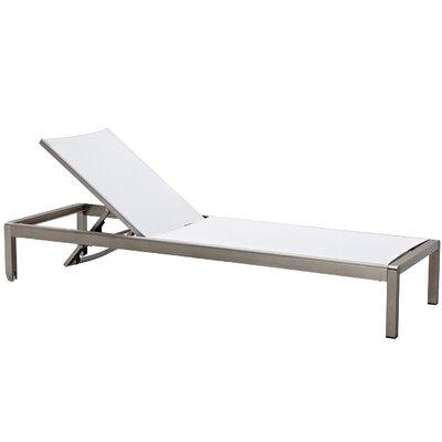Chaise Lounge Fabric/Finish: White/Aluminum