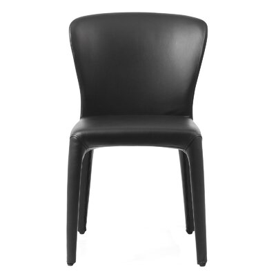 Aniline Leather Side Chair Finish: Black