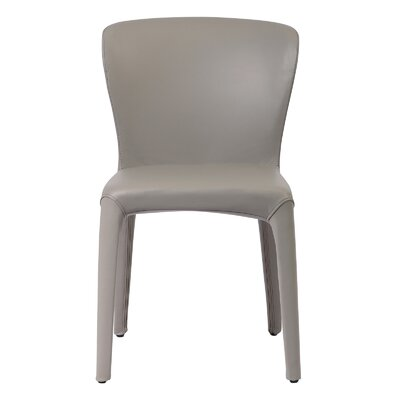 Aniline Leather Genuine Leather Upholstered Dining Chair Finish: Gray