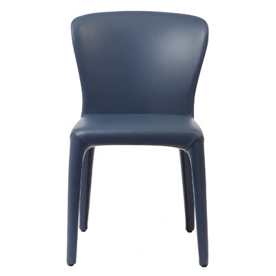 Aniline Leather Genuine Leather Upholstered Dining Chair Finish: Navy Blue