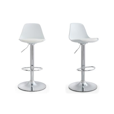 M512 Adjustable Height Bar Stool Finish: White, Upholstery: White