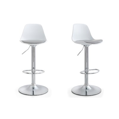 M512 Adjustable Height Bar Stool Finish: Gray, Upholstery: Gray
