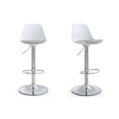 M512 Adjustable Height Bar Stool Upholstery: Gray, Finish: White