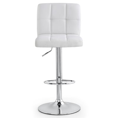 M36 Adjustable Height Bar Stool Upholstery: White