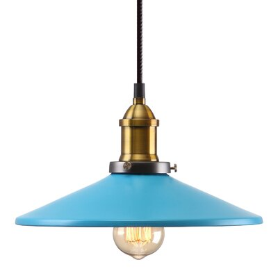 M39 1-Light Mini Pendant Shade Color: Blue, Size: 6.7 H x 11 W x 11 D