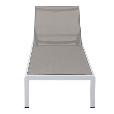 Chaise Lounge Fabric/Finish: Beige/White