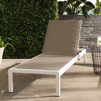 Chaise Lounge Fabric/Finish: Grey/White