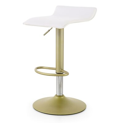 M502 Adjustable Height Swivel Bar Stool Color: White/Gold