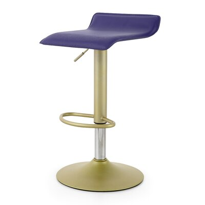 M502 Adjustable Height Swivel Bar Stool Color: Navy Blue/Gold