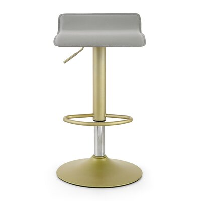 M502 Adjustable Height Swivel Bar Stool Color: Gray/Gold