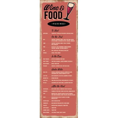 Life Lines Wine and Food Pairings in Retro Textual Art Plaque