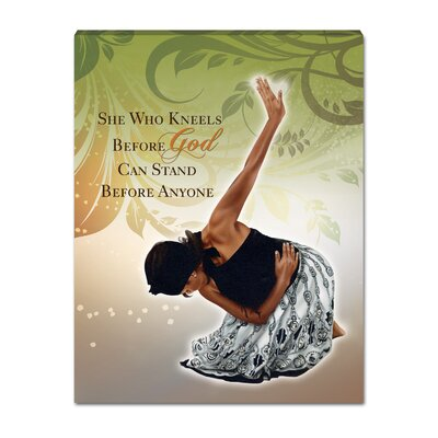 """She Who Kneels Graphic Art On Wrapped Canvas Size: 14"""" H X 11"""" W X 0.01"""" D"""