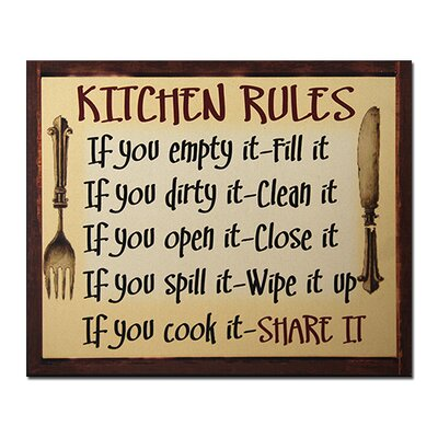 Kitchen Rules Framed Textual Art