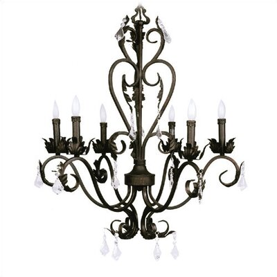 Barcelona 6 Light Chandelier with Crystal Drops