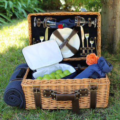 Picnic Pack USA English Style Willow Picnic Basket with Blanket