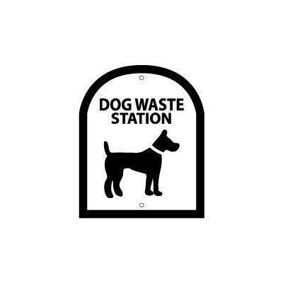 Arch Symbol Dog Waste Station Sign Color: Black