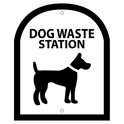 Arch Symbol Dog Waste Station Sign Color: Black