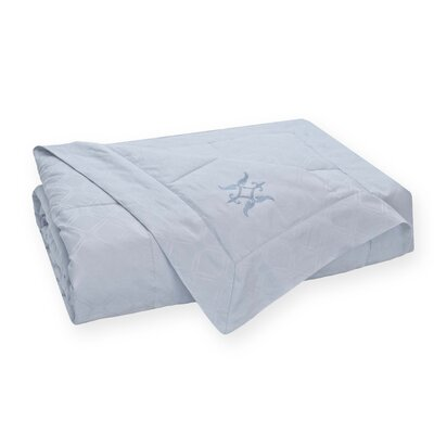 Modern Lattice Jacquard Down 100% Cotton Blanket Size: Twin, Color: Light Blue