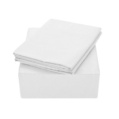 Modern Lattice Jacquard 400 Thread Count 100% Cotton Sheet Set Size: Queen, Color: White