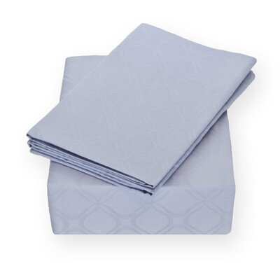 Modern Lattice Jacquard 400 Thread Count 100% Cotton Sheet Set Size: King, Color: Lavender