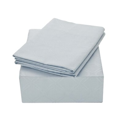 Modern Lattice Jacquard 400 Thread Count 100% Cotton Sheet Set Color: Light Blue, Size: King