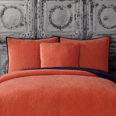 Solid Velvet Standard Sham Color: Apricot Orange/Eggplant Purple