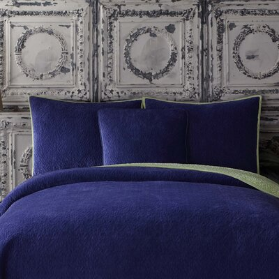 Solid Velvet Standard Sham Color: Deep Blue/Sea Mist Green